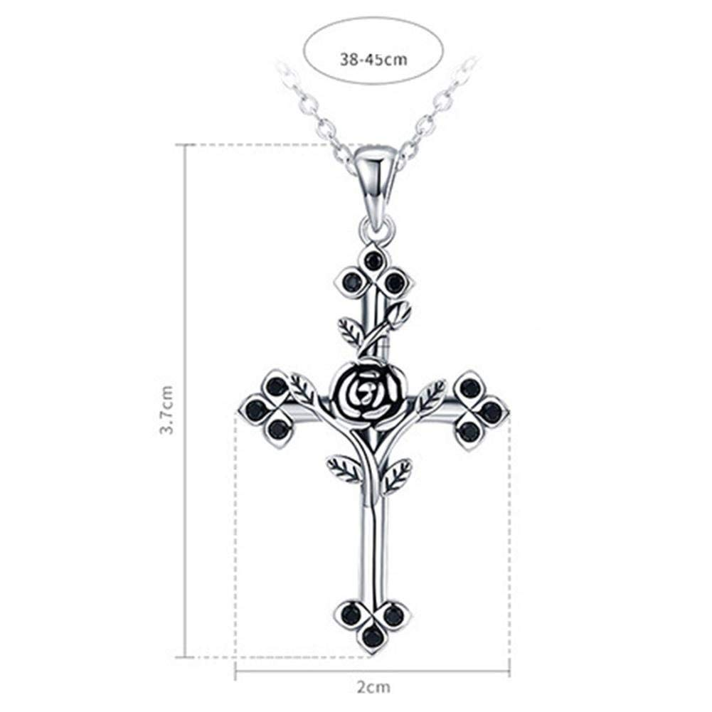 Girls Everyday Wear TTLElife BBYaki Womens Necklace S925 Sterling Silver Holiday Birthday Gifts Personalized Rose Cross Clavicle Necklace
