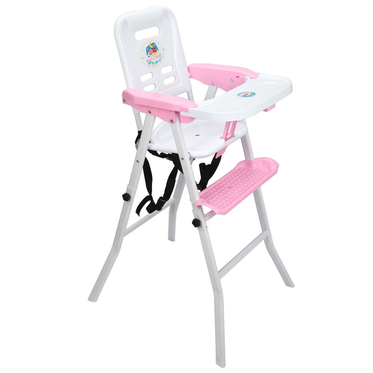 Costzon 4 in1 Baby Highchair, Detachable Rocking Feeding Booster with Safety Belt (Pink)