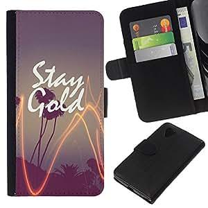 KLONGSHOP // Tirón de la caja Cartera de cuero con ranuras para tarjetas - paja de palma de oro de California del árbol de la puesta del sol - LG Nexus 5 D820 D821 //