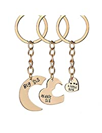 3 Pcs Family Keyring Big Sis Middle Sis Little Sis Broken Heart Keychain Set
