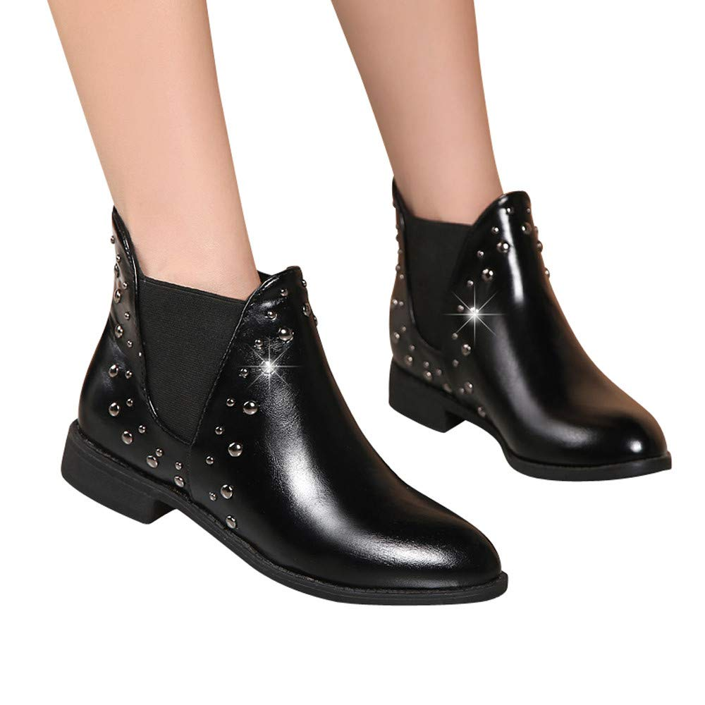 Boots For Women, Clearance Sale !! Farjing Casual Rivets Shoes Keep Warm Boot Leather Flat Ankle Boots Martin Boots(US:6,Black)