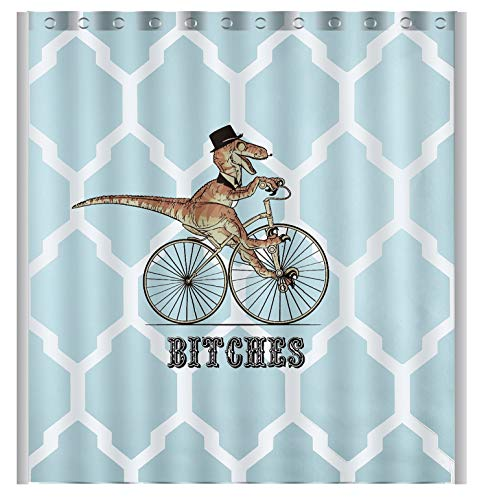 Vandarllin Personalized Dinosaur Bicycle Geometry Pattern Bath Decor Curtain 60 x 72 Fabric Shower Curtain -