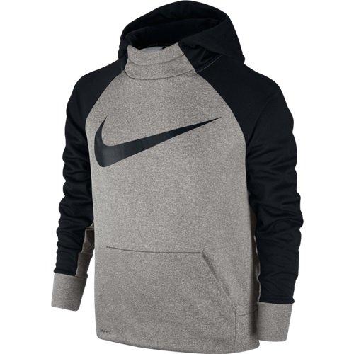 Nike Boy's Therma Training Hoodie Dark Grey Heather/Black Size Small