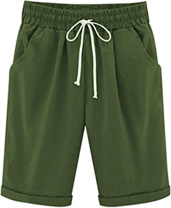 womens cotton shorts elastic waist