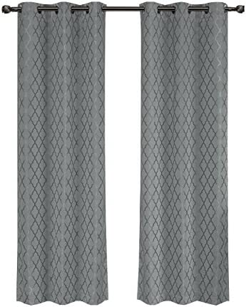 Royal Tradition Willow 84-Inch Wide x 120-Inch Long, Jacquard Thermal Insulated Set of 2 Blackout Curtains, Grey