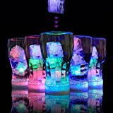 Micchow 12pcs Submersible Waterproof Wedding Underwater Mini Bright Tea Lights Ice Cubes Light Fastly Flickering LED Flameless Candle, Battery Operated for Wedding, Birthday, Party Decoration, Pond