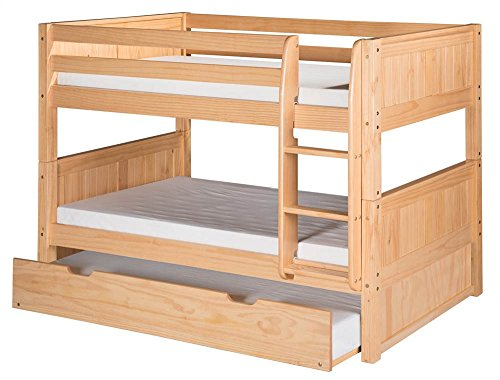 Camaflexi Panel Style Solid Wood Low Bunk Bed with Trundle, Twin-Over-Twin, Side Attached Ladder, Natural - Bunk Panel