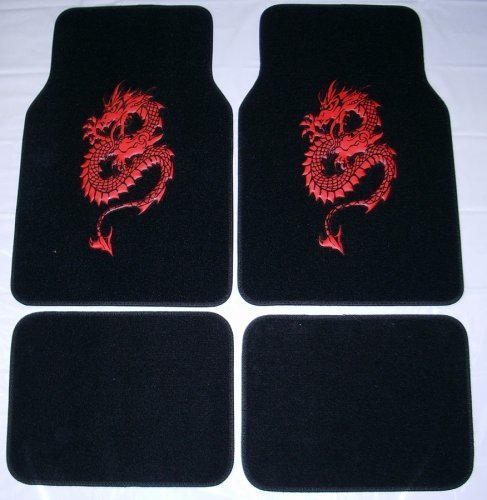 (- 	 Dragon Red Front & Rear Carpet Car Truck SUV Floor Mats)