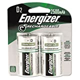 "Energizer NH50BP-2 Rechargeable D Cell Batteries, NIMH D Battery (2 Count) NH95BP-2, 0.75"" Height, 3.25"" Width"