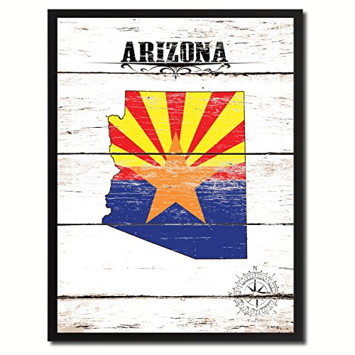 Arizona State Flag Map Art Canvas Print Picture Frame Vintage Kids Room Home Office Wall Decor Gift - Arizona For Kids Map