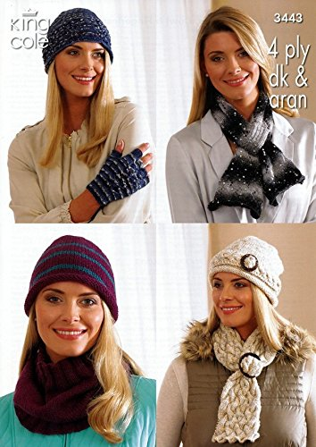 King Cole Ladies Hats, Scarves, Gloves & Cowl Zig Zag Knitting Pattern 3443 4 Ply, DK, Aran by King (Zig Zag Knitting Pattern)