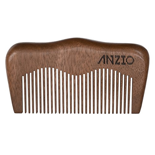 Wood Beard Mustache Comb by ANZIO, Handmade Pocket & Travel Size With or Without PU Leather Credit Card ID Money Holder (Red Sandalwood)