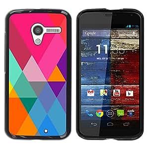 iKiki Tech / Estuche rígido - Art Blue Colorful Pattern Purple - Motorola Moto X 1 1st GEN I XT1058 XT1053 XT1052 XT1056 XT1060 XT1055