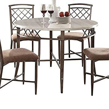 Amazon.com - BOWERY HILL Round Marble Top Dining Table in ...