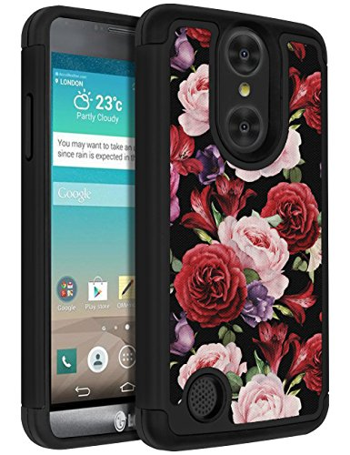 LG K20 Plus Case, LG K20 V Case, LG K10 2017 Case, LG Harmony Case, LG Grace LTE Case,ANLI [Flowers Design] Drop Protection Hybrid Dual Layer Armor Protective Case Cover for Girls and Women Rose