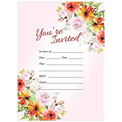 Wedding Party Invitations 5x7 25ct You're Invited Pink Floral Rose Daisy Wildflower Fill in invitation Bridal Shower Baby Rehearsal Dinner Anniversary Fun Birthday party invites, With Envelopes