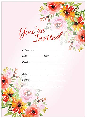 Wedding Invitations 5x7 25ct You're Invited Pink Floral Rose Daisy Wildflower Fill in invitation Bridal Shower Rehearsal Dinner Anniversary Birthday party invites, Wedding Invitations with Envelopes