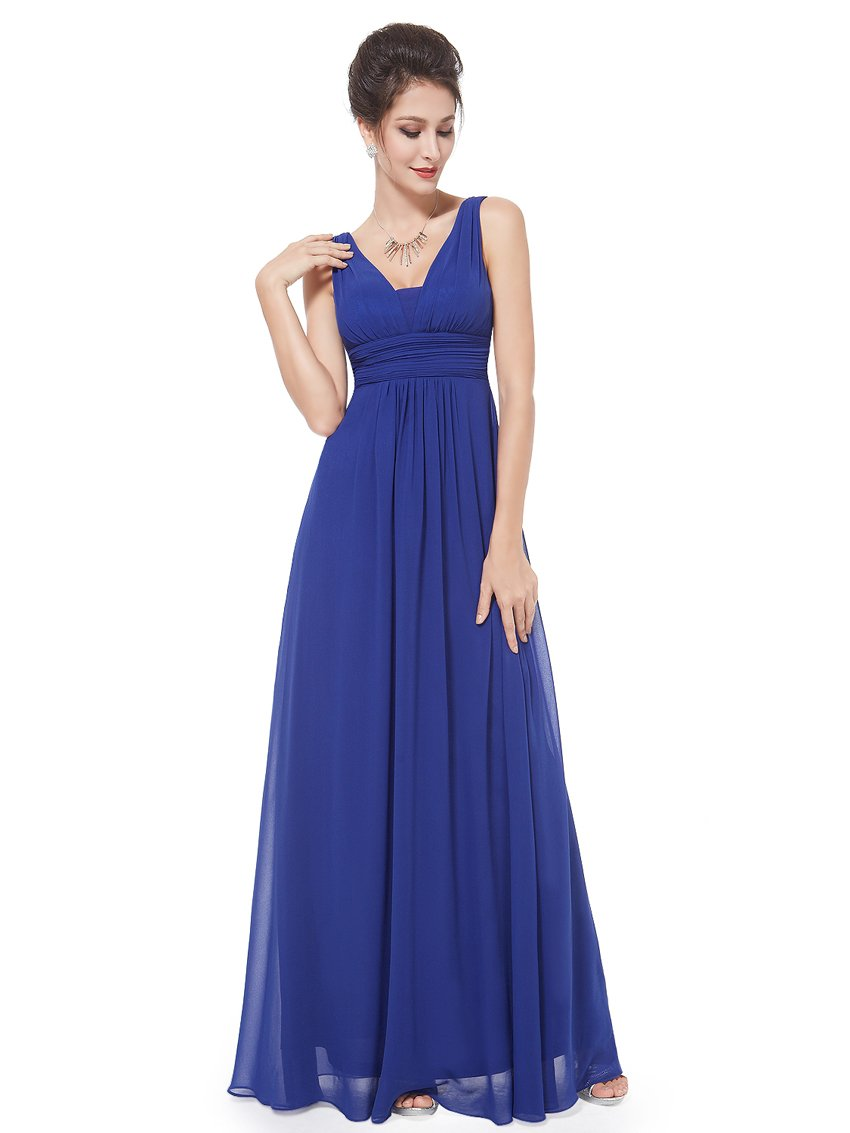 Ever-Pretty Backless Long Dresses for Juniors Long 10US Sapphire Blue