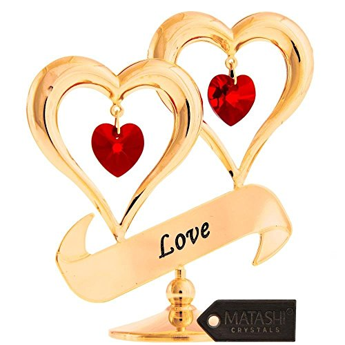 24k Gold Double Plated Crystal - Matashi 24K Gold Plated Crystal Studded Double Heart with Banner Ornament, Best Gifts for Valentine's Day, Mother's Day, Anniversary, Christmas, Birthday (Love)