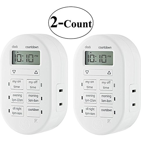 2 Packs of GE MyTouchsmart Indoor Plug-In Digital Timer, 26892 (2 Packs)