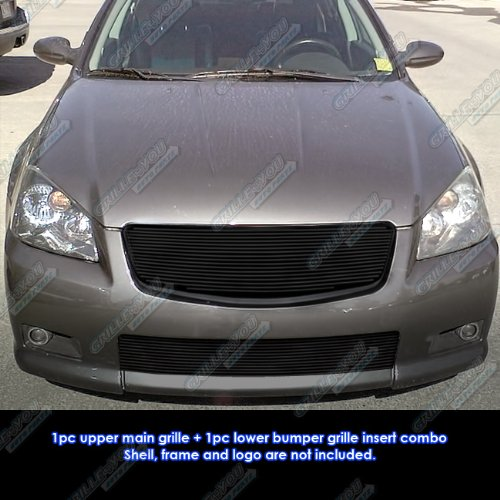 Compatible with 2005-2006 Nissan Altima SER Black Billet Grille Grill Combo Insert S18-H01118N