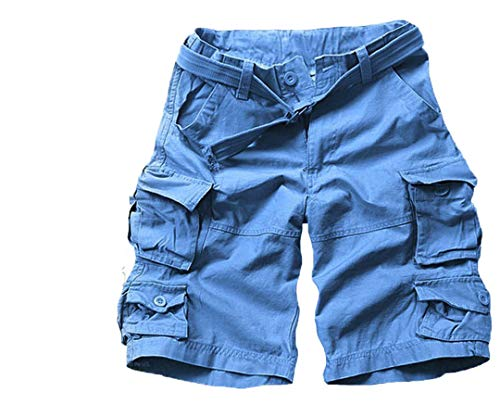 Mens Summer Multi-Pocket Camouflage Shorts Casual Loose Camo Knee-Length Cargo Shorts with Belt Sky Blue XXL
