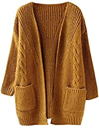 Women's Cable Twist School Wear Boyfriend Pocket Open Front Cardigan Popcorn Sweaters