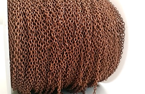 5ft (1.5m) Thin Solid Brass Rolo Cable Chain-Bulk Jewelry Making- 2mm (Antique Copper)