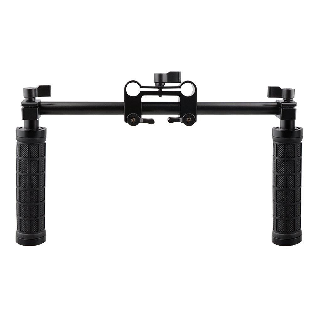 CAMVATE Handle Grips Front Handbar Clamp Mount for 15mm Rod Support System Shoulder Rig(Black)