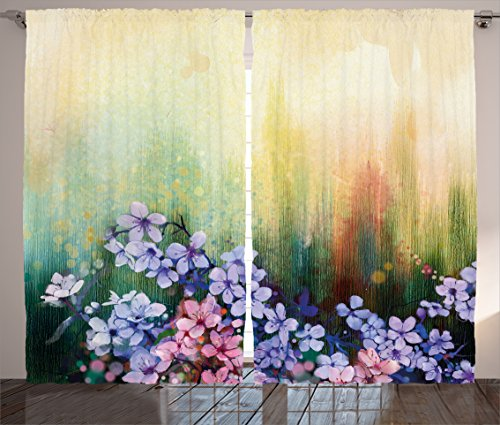 Cheap Ambesonne Watercolor Flower Home Decor Curtains, Violets in Grass on Blurred Background with Brush Strokes Picture, Living Room Bedroom Window Drapes 2 Panel Set, 108W X 63L inches, Multi