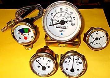 Willys Jeep Mb Gpw Cj Messgeräte Set Tachometer 80 Mph 120 Km H Temp Öl Kraftstoff Amperemesser Auto