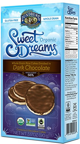 - Lundberg Organic Gluten-Free Sweet Dreams Dark Chocolate Rice Cakes - Pack of 3, 3.17 Oz. Ea.
