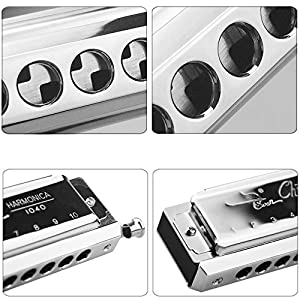 SWAN Harmonica in C Key 10 Holes 40 Tone Mouth Organ Stainless Steel Chromatics Harmonica SW1040