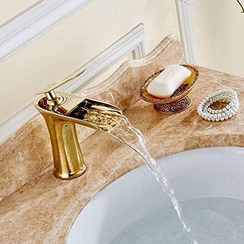 Gulakey 浴室製品流域の蛇口のゴールドの蛇口の滝の蛇口のフル銅金浴室の蛇口のシンプルで実用的な