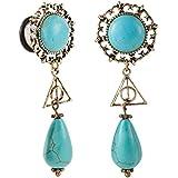 "Bigbabybig Turquoise Ear 5/8"" Gauges Dangle Earrings Plugs Tunnels Body Piercing Jewelry for Women"