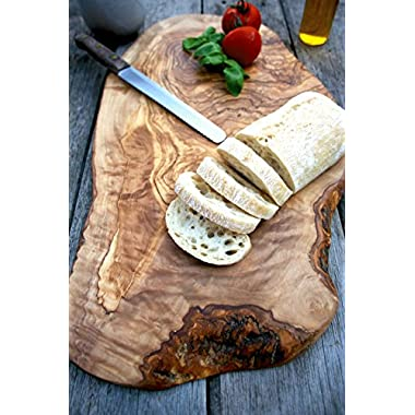 Extra Large Rustic Olive Wood Chopping, Cutting, Carving, Presentation, Serving Board - Length 21.3 - 23.6  x Width min. 8.7 - 10.2  x Depth 0.8