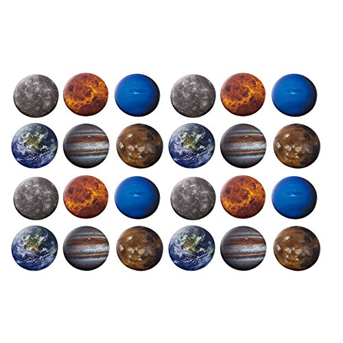 (Pinback Buttons - 24-Pack Planets Round Button Pins in 6 Planetary Universe Designs, Mercury, Earth, Mars, Jupiter, Neptune, Venus, 2.25 Inches Diameter)