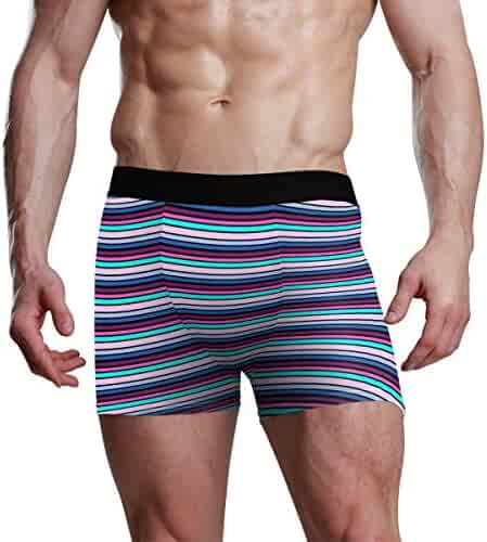 LIULIULIU Mens Boxer Briefs,4PC Summer Breathable Ice Silk Stitching Comfortable Shorts Underpants
