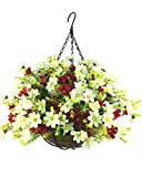 Lopkey Artificial Daisy Flowers Outdoor Indoor Patio Lawn Garden Hanging Basket with Chain Flowerpot,White-Red For Sale