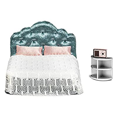 Lundby Dollhouse Bedroom Furniture Set Modern Bed & Bedside Table: Toys & Games