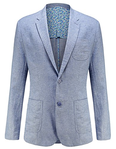 utcoco Mens Fashion Linen Slim Fit Lightweight 2 Button Sports Coat Suit Jacket (X-Large, Blue) (Summer Linen Suit)