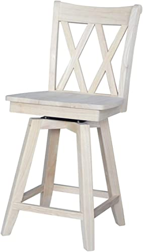 International Concepts Double X Back counterheight Swivel seat Counter Height Stool