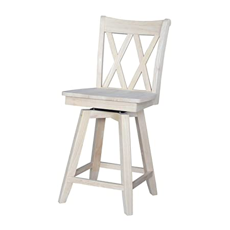 International Concepts Double X Back Counterheight Stool with Swivel and Auto Return, 24 , Ready to Finish