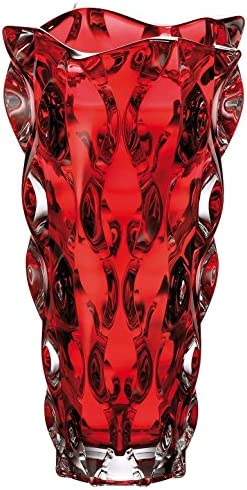 CZECH Bohemian Crystal Glass VASE 12″-H Samba RED Decorative Gift Crystal Glass Flower VASE Centerpiece Bud Elegant European Design Classic Crystal Gla