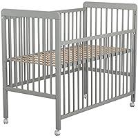 Lit bébé coulissant en bois laqué gris Baby Fox avec roulettes 3 hauteurs 60 x 120 cm