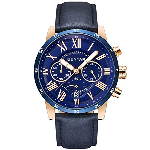 (BENYAR Classic Fashion Chronograph Quartz Watch Waterproof Casual Sport Leather Band Watches(B-Blue))