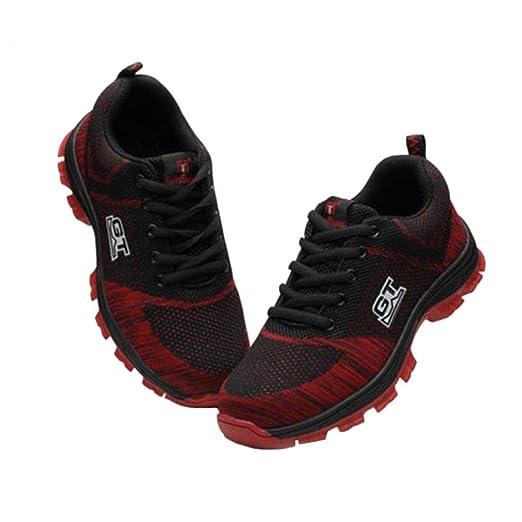 Bobury Zapatos de Punta de Acero Cap Botas Industriales Seguridad en el Trabajo Anti-Sensacional Resistente a los pinchazos y Transpirable Calzado ...