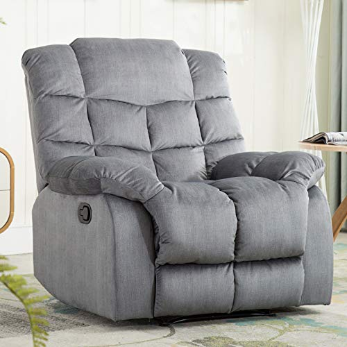 ANJ HOME Recliner Chair Overstuffed, Manual Reclining Single Couch Wide Seat with Thickened Headrest and Back, Slate Grey