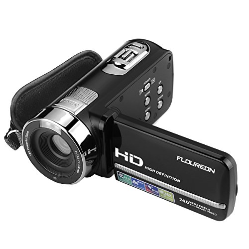 FLOUREON HD 1080P Camcorder Digital Video Camera DV 3.0 TFT LCD Screen 16x Zoom 270 Degrees Rotation for Sport /Youtube/Short Films Video Recording Dark Black