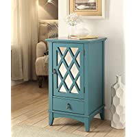 ComfortScape Contemporary Side Desk Table with Drawer and Shelf for Living Room, Teal